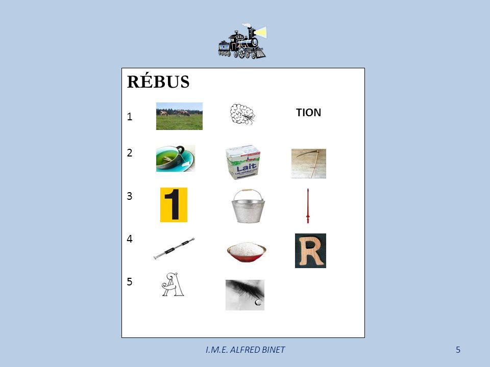 RÉBUS 1 2 3 4 5 TION I.M.E. ALFRED BINET