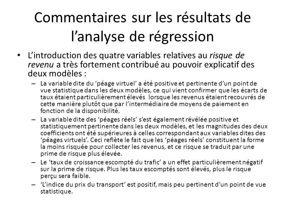 Commentaires sur les résultats de l'analyse de régression