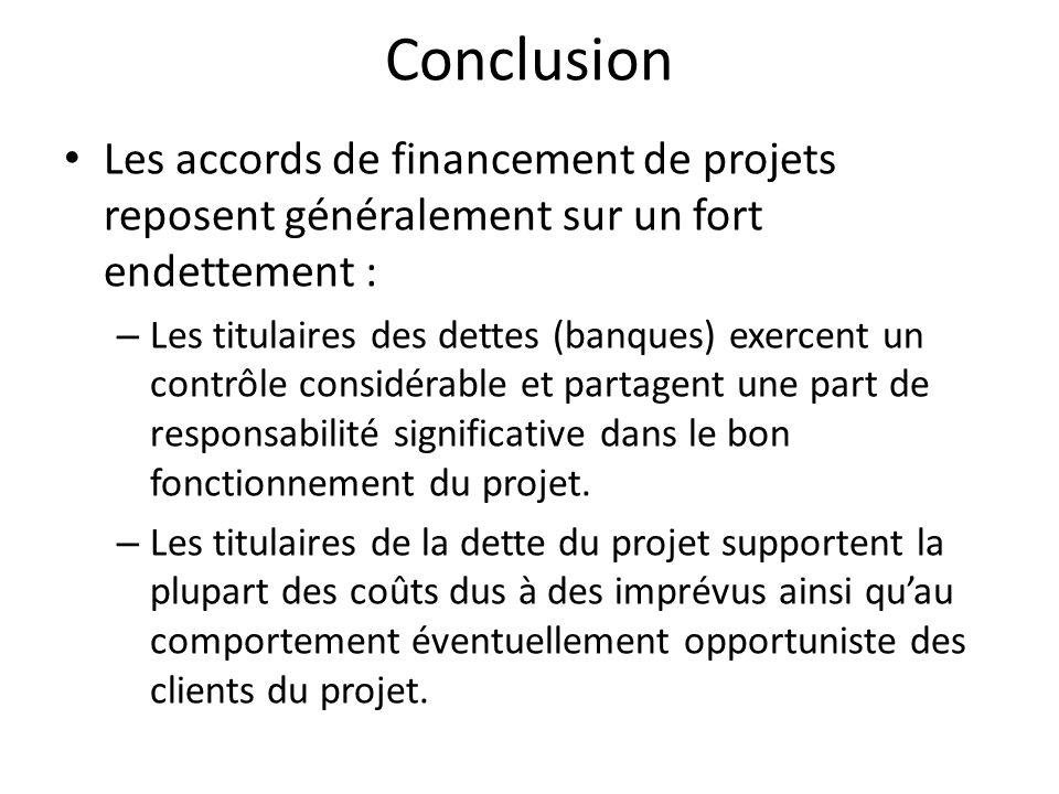 Conclusion Les accords de financement de projets reposent généralement sur un fort endettement :