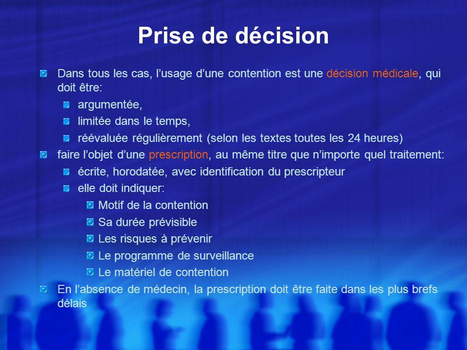 Prise de décision Dans tous les cas, l'usage d'une contention est une décision médicale, qui doit être: