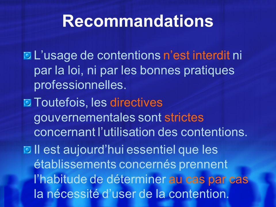 RecommandationsL'usage de contentions n'est interdit ni par la loi, ni par les bonnes pratiques professionnelles.