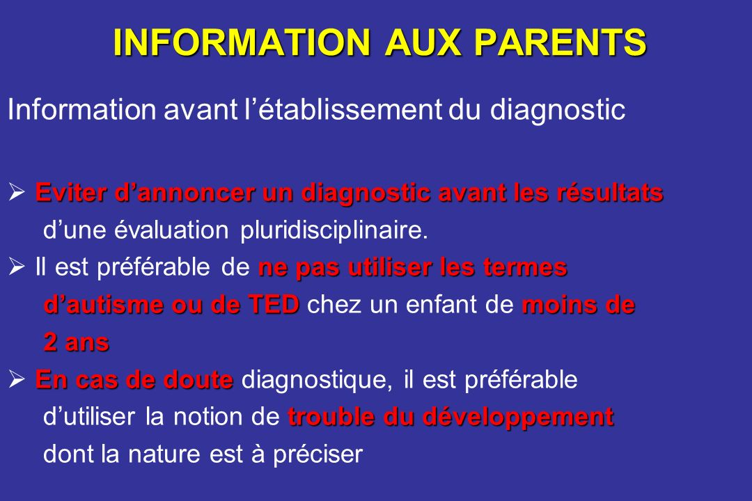 INFORMATION AUX PARENTS