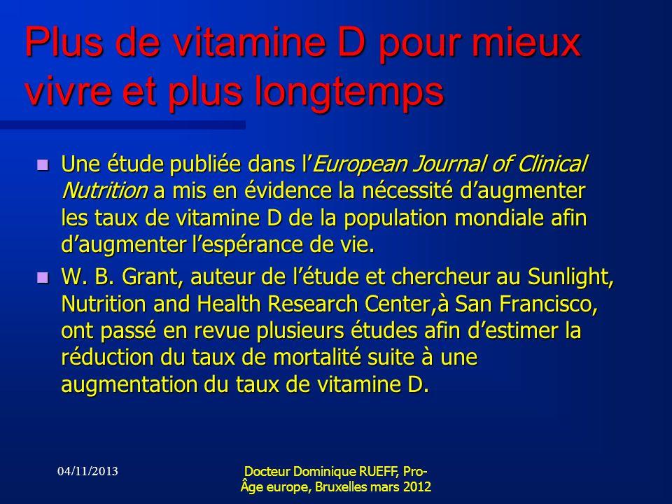 Plus de vitamine D pour mieux vivre et plus longtemps