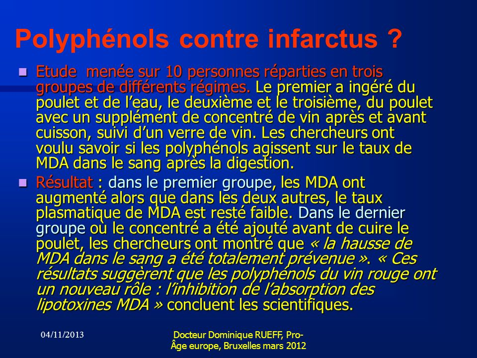 Polyphénols contre infarctus