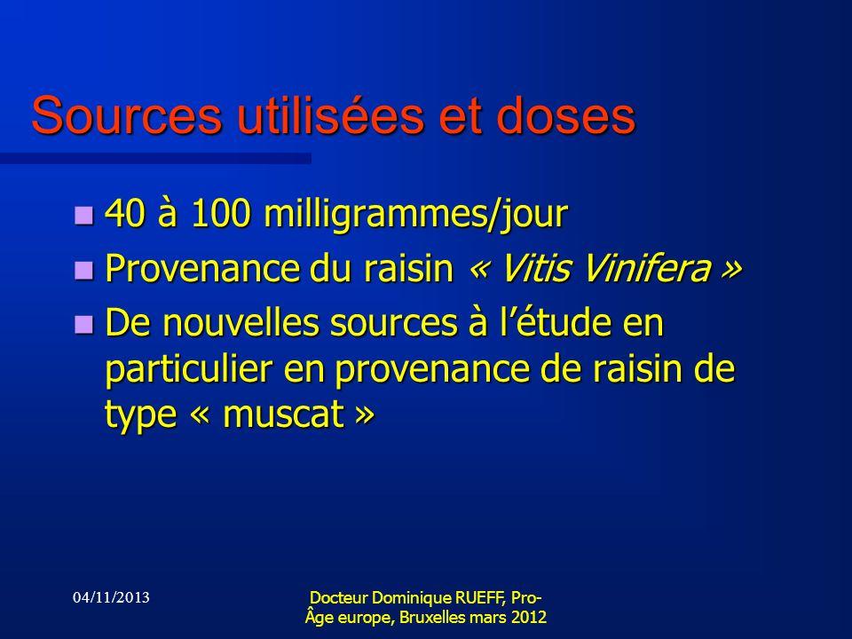 Sources utilisées et doses