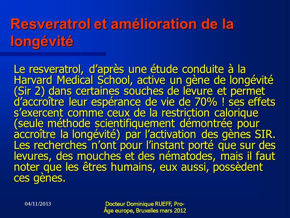Resveratrol et amélioration de la longévité