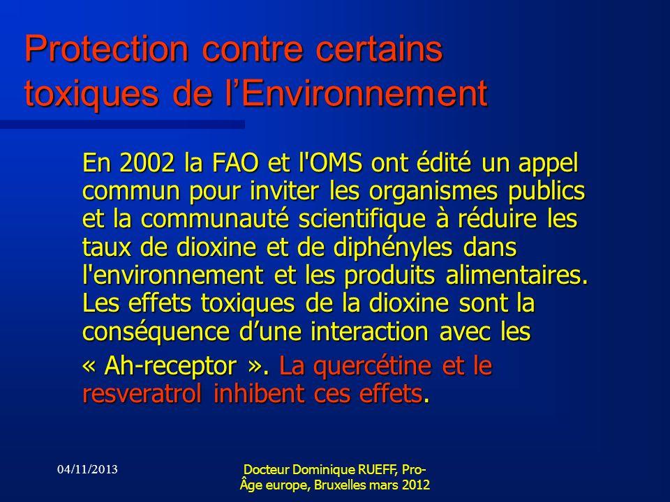 Protection contre certains toxiques de l'Environnement