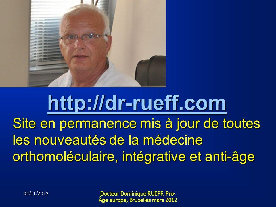 Docteur Dominique RUEFF, Pro-Âge europe, Bruxelles mars 2012