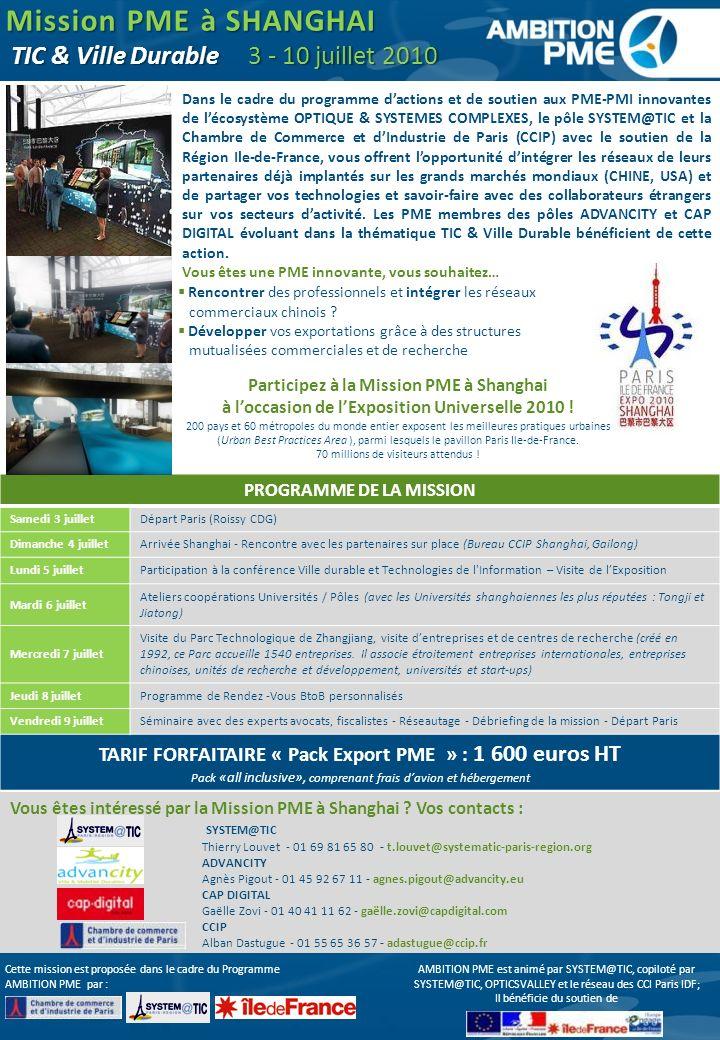 Mission PME à SHANGHAI TIC & Ville Durable 3 - 10 juillet 2010