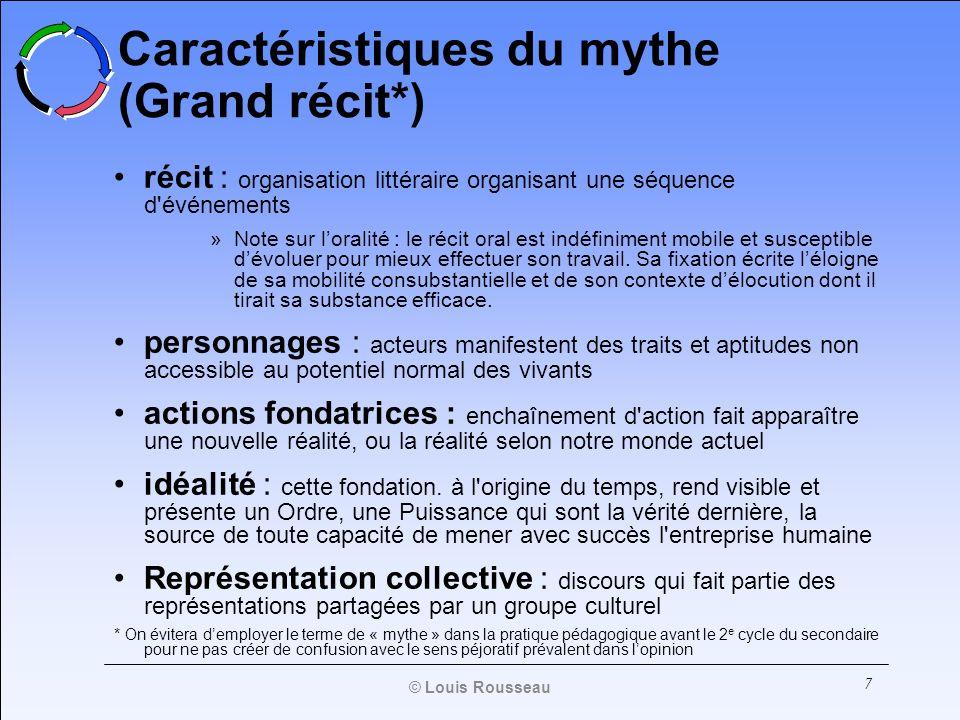 Caractéristiques du mythe (Grand récit*)