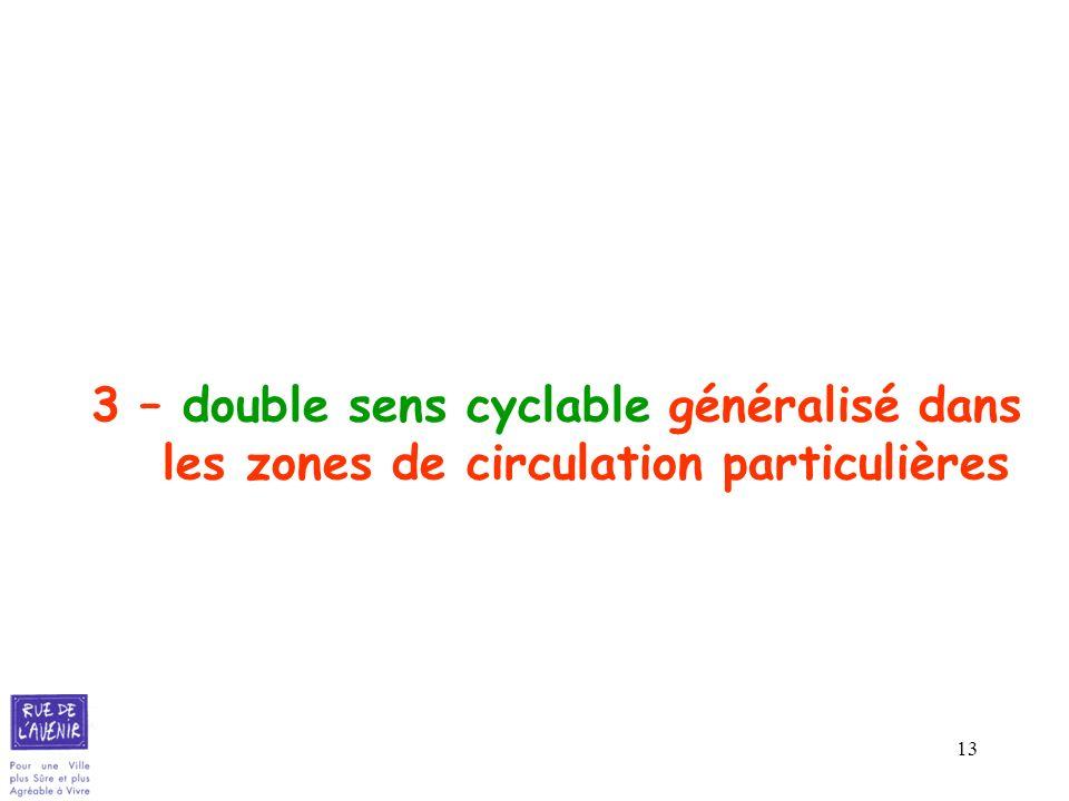 3 – double sens cyclable généralisé dans les zones de circulation particulières