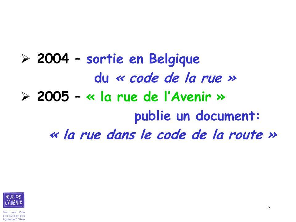 2004 – sortie en Belgiquedu « code de la rue » 2005 – « la rue de l'Avenir » publie un document: « la rue dans le code de la route »