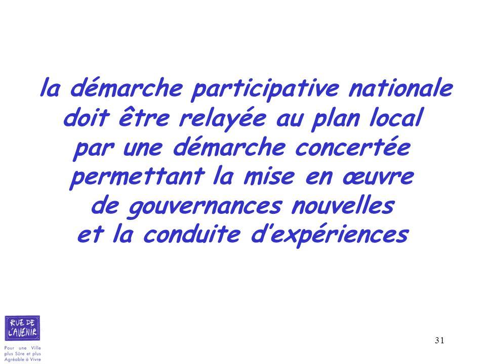 la démarche participative nationale doit être relayée au plan local par une démarche concertée permettant la mise en œuvre de gouvernances nouvelles et la conduite d'expériences