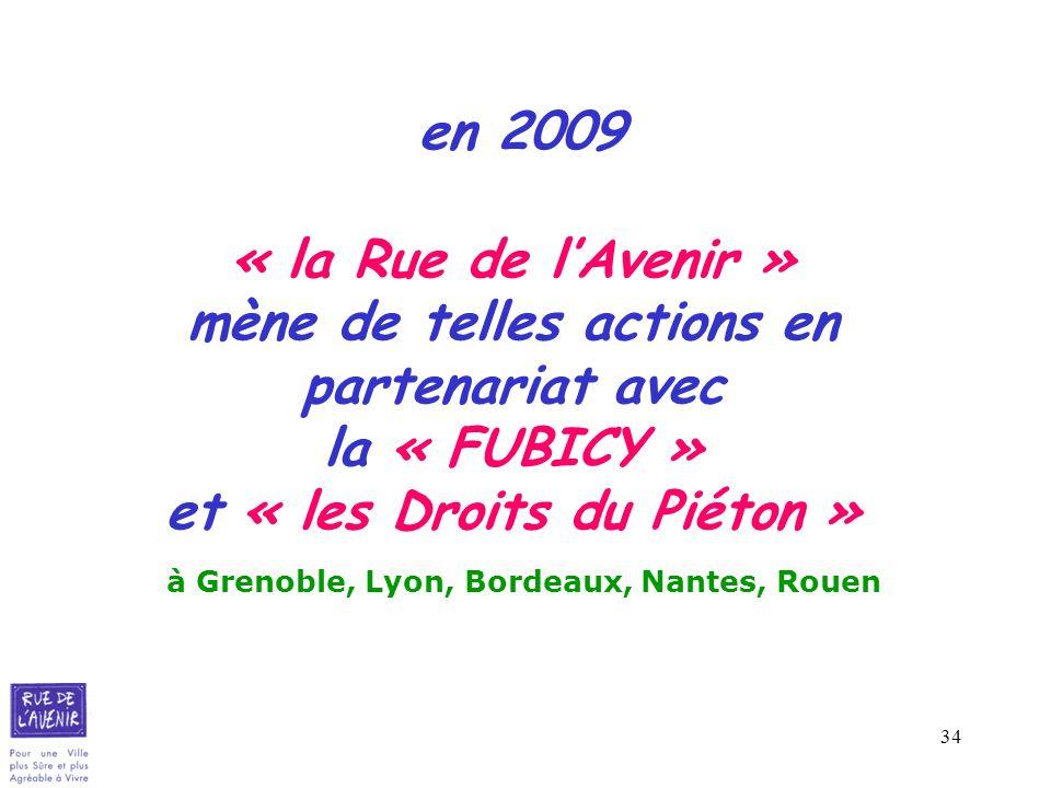 en 2009 « la Rue de l'Avenir » mène de telles actions en partenariat avec la « FUBICY » et « les Droits du Piéton » à Grenoble, Lyon, Bordeaux, Nantes, Rouen