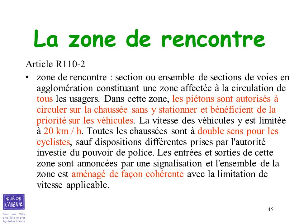 La zone de rencontre Article R110-2