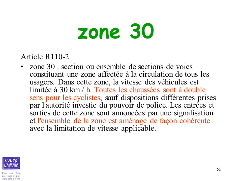 zone 30 Article R110-2.
