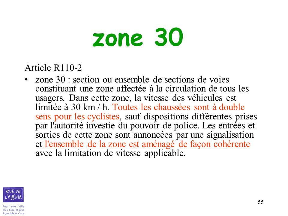 zone 30Article R110-2.