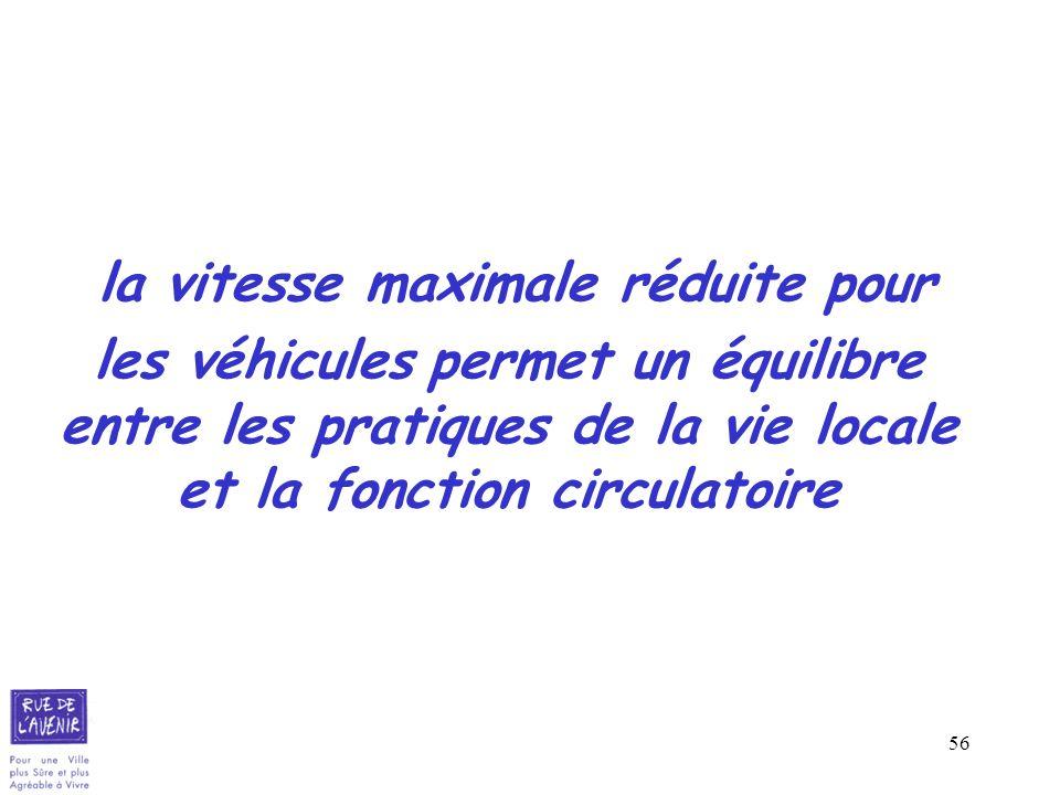 la vitesse maximale réduite pour les véhicules permet un équilibre entre les pratiques de la vie locale et la fonction circulatoire