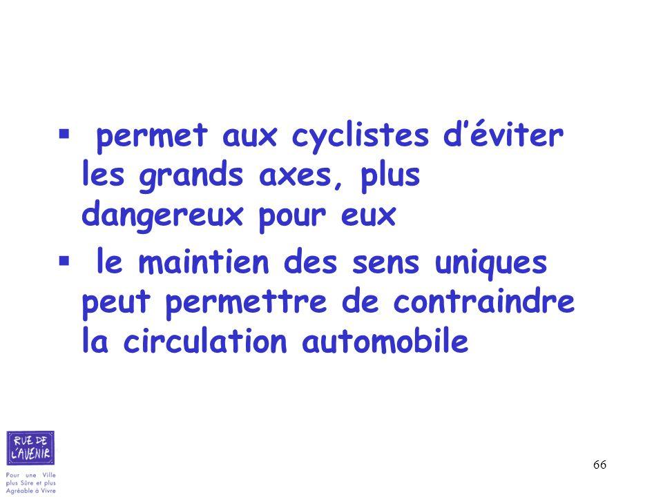 permet aux cyclistes d'éviter les grands axes, plus dangereux pour eux
