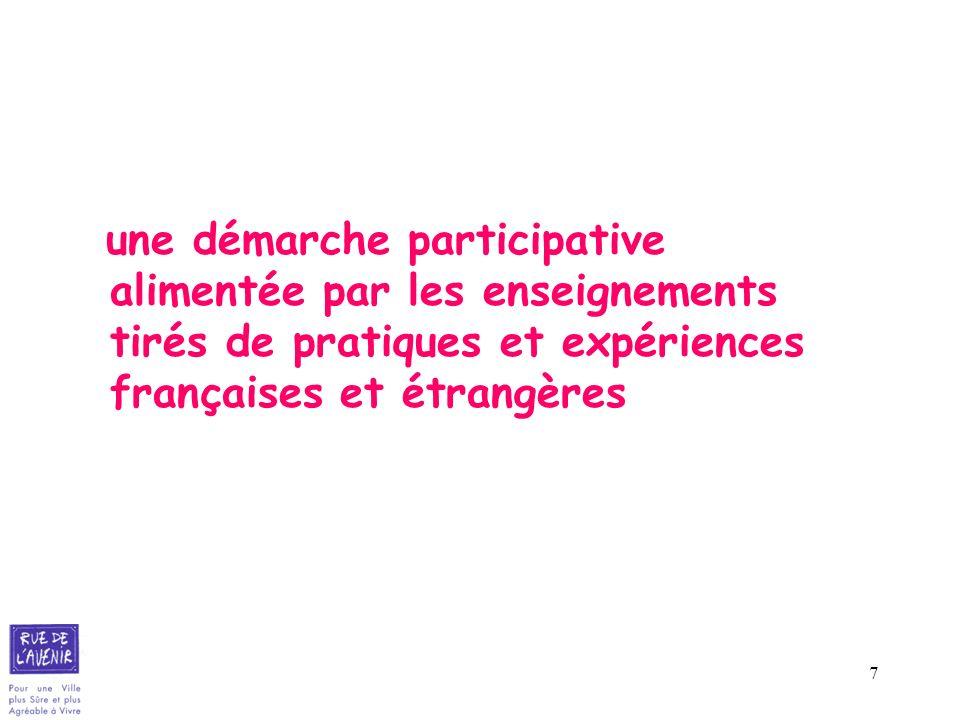 une démarche participative alimentée par les enseignements tirés de pratiques et expériences françaises et étrangères
