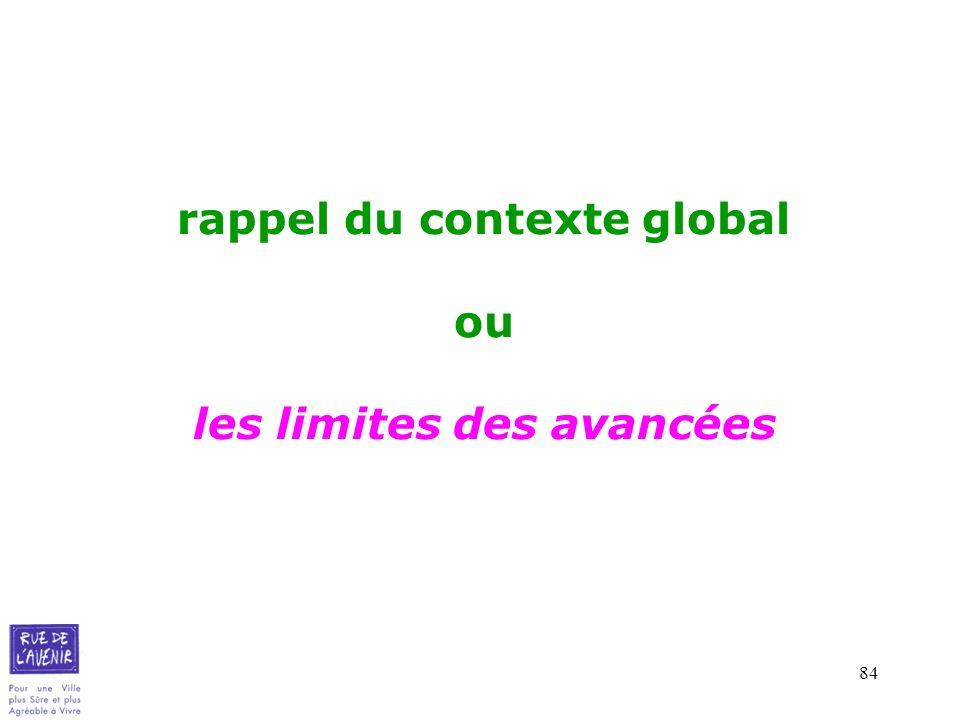 rappel du contexte global ou les limites des avancées