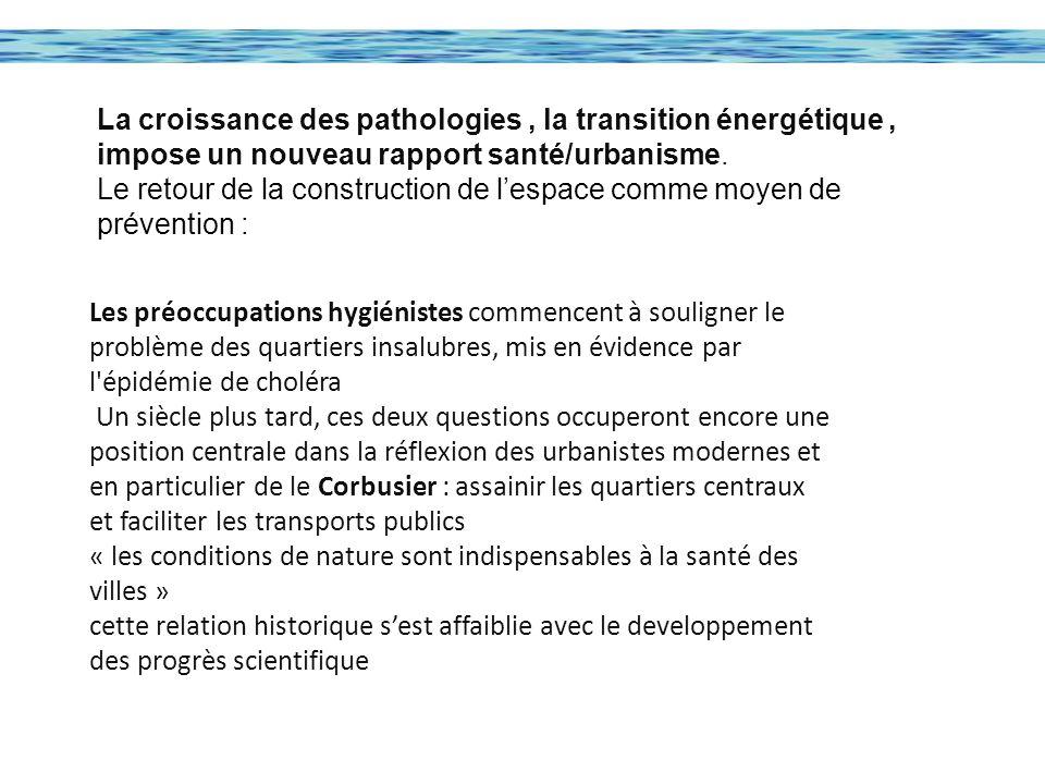 La croissance des pathologies , la transition énergétique , impose un nouveau rapport santé/urbanisme.