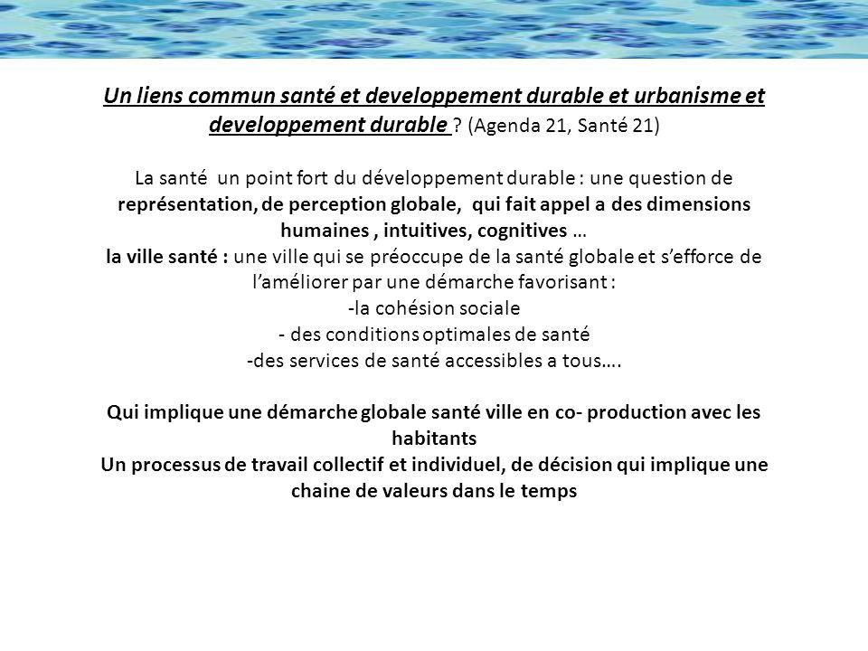 Un liens commun santé et developpement durable et urbanisme et developpement durable .