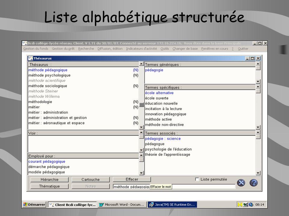 Liste alphabétique structurée