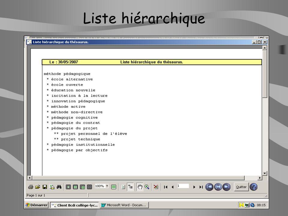 Liste hiérarchique