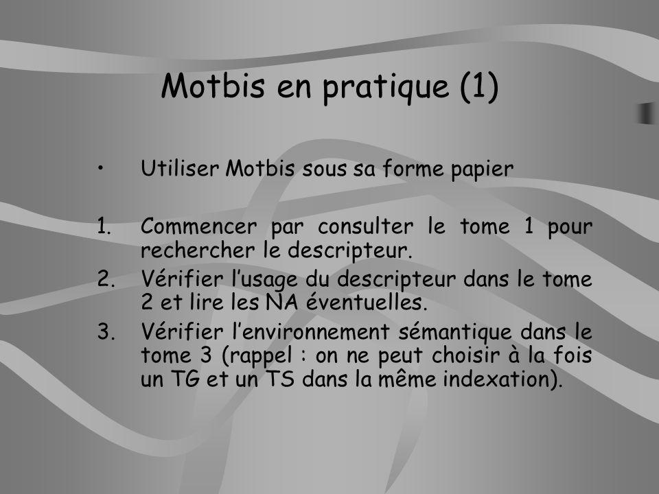Motbis en pratique (1) Utiliser Motbis sous sa forme papier