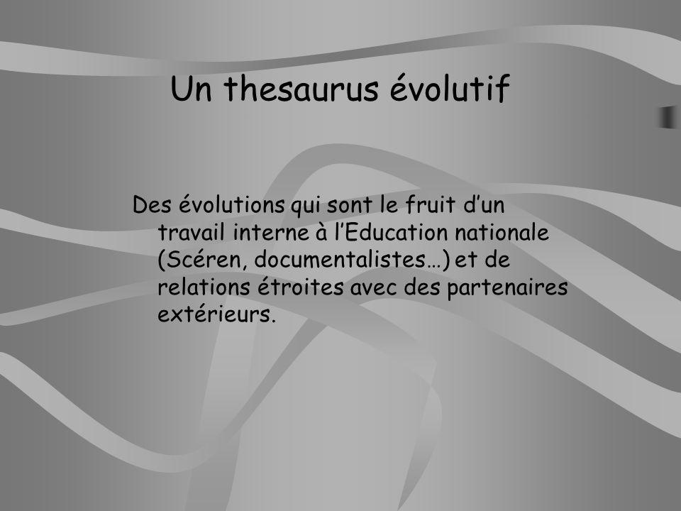 Un thesaurus évolutif