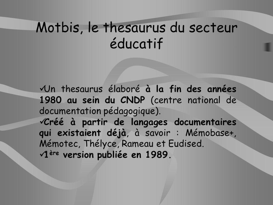 Motbis, le thesaurus du secteur éducatif
