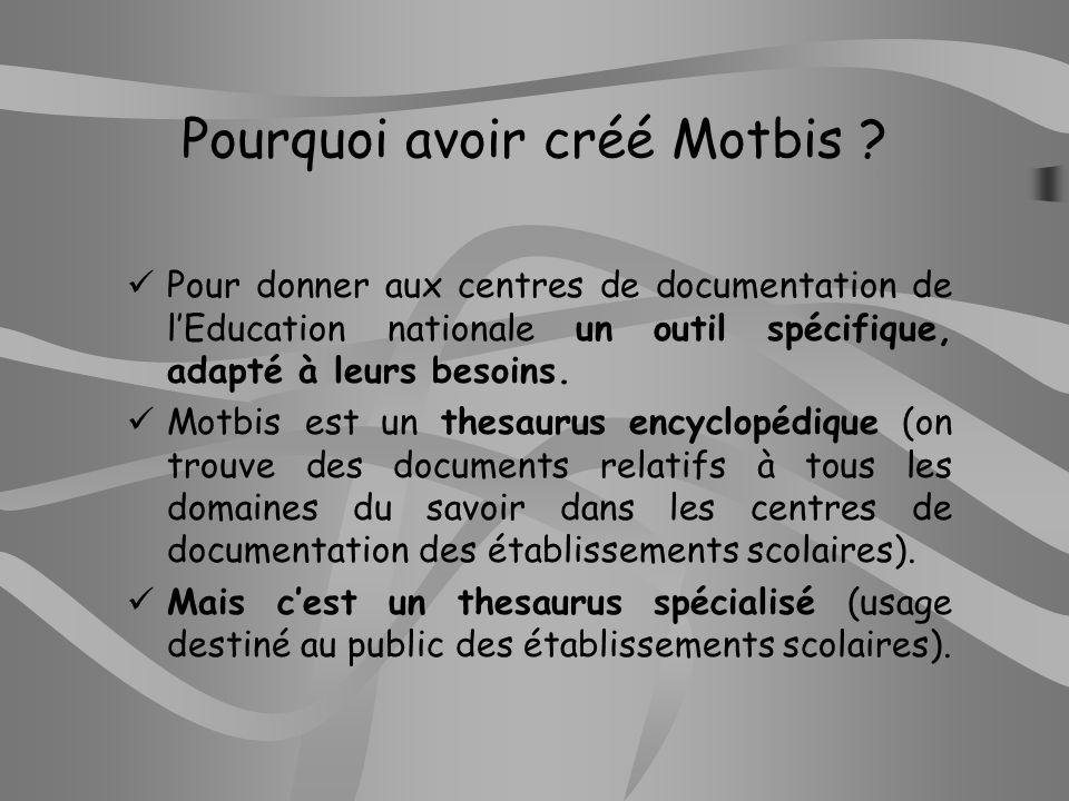 Pourquoi avoir créé Motbis
