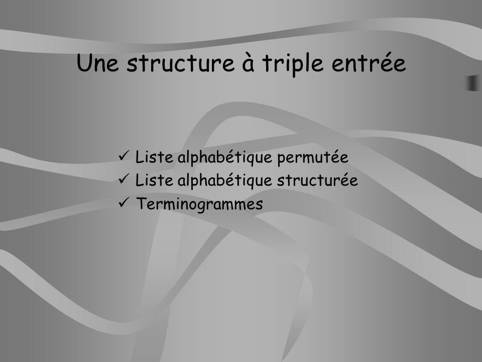 Une structure à triple entrée