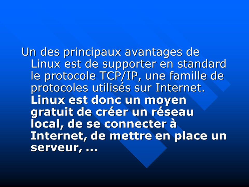 Un des principaux avantages de Linux est de supporter en standard le protocole TCP/IP, une famille de protocoles utilisés sur Internet.