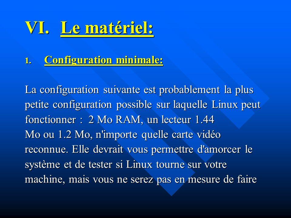 Le matériel: Configuration minimale: