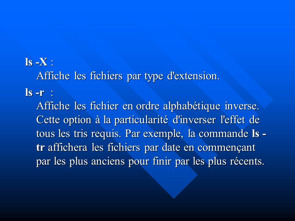 ls -X : Affiche les fichiers par type d extension.