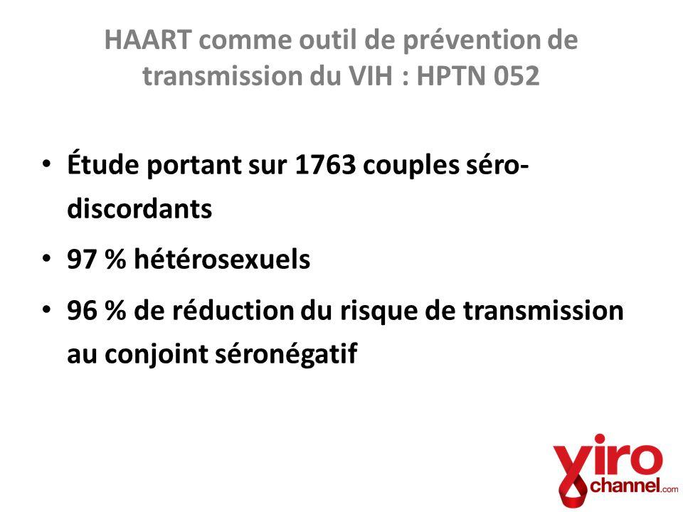 HAART comme outil de prévention de transmission du VIH : HPTN 052