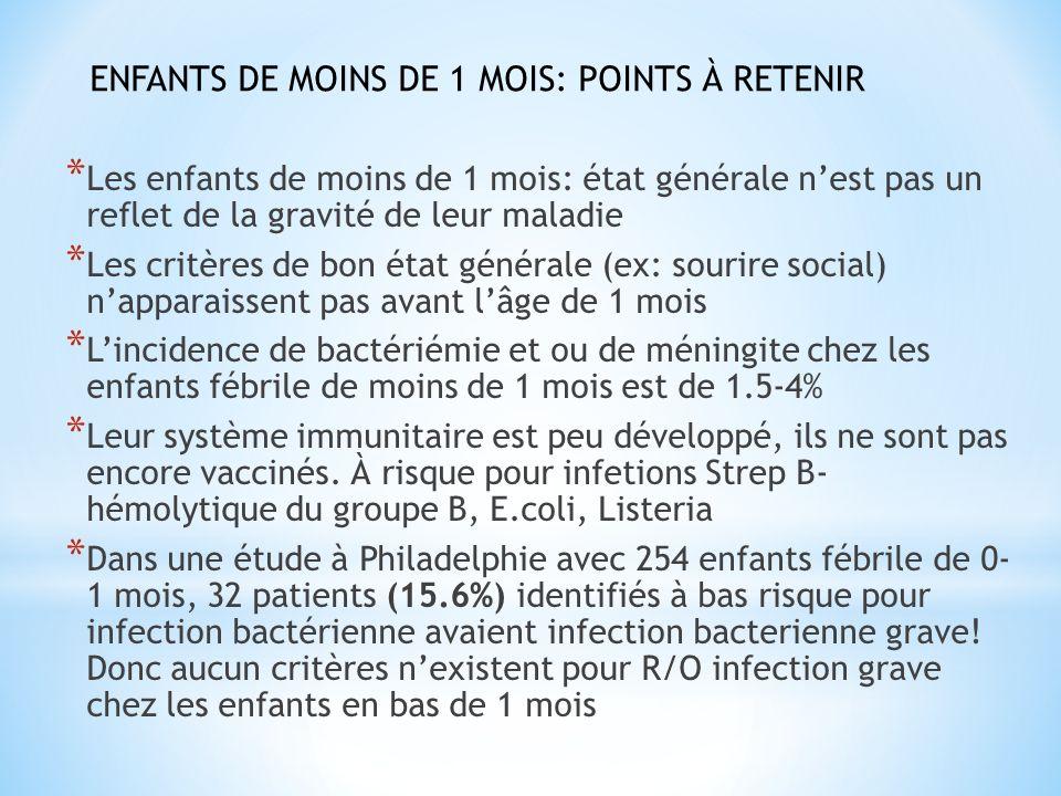 ENFANTS DE MOINS DE 1 MOIS: POINTS À RETENIR