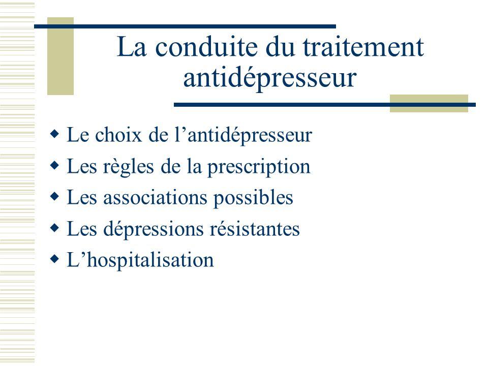 La conduite du traitement antidépresseur