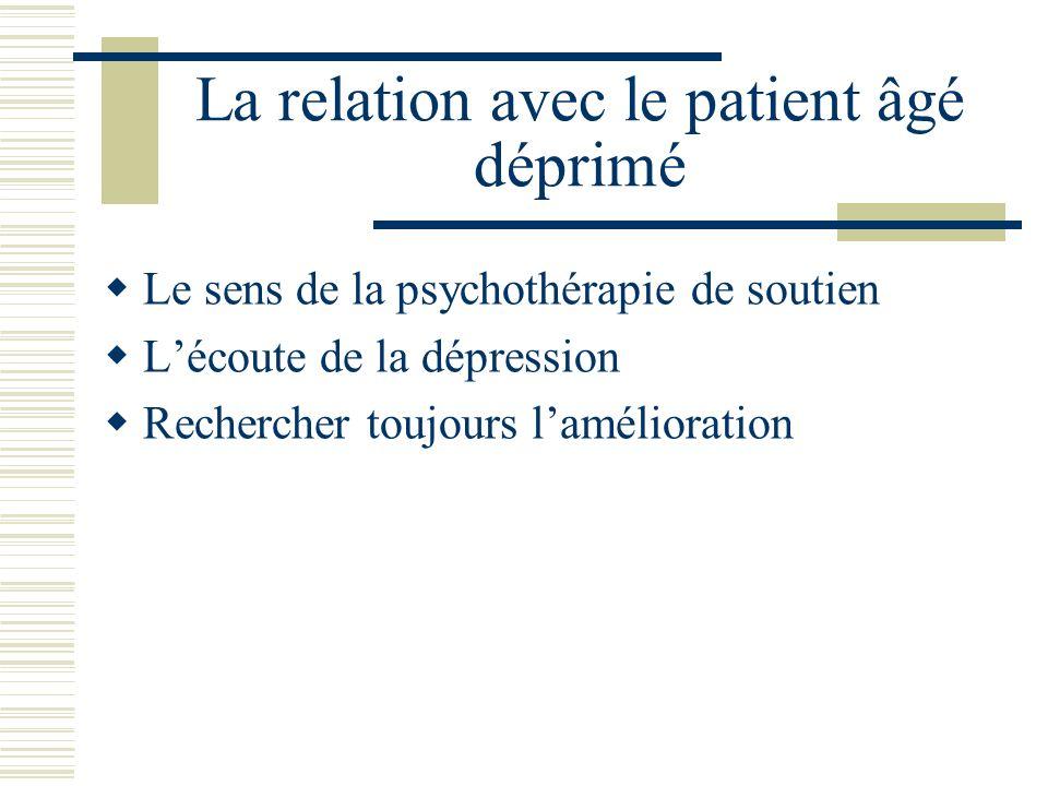 La relation avec le patient âgé déprimé