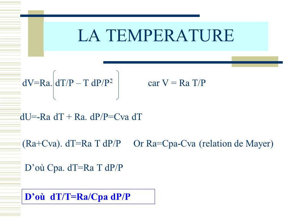 LA TEMPERATURE dV=Ra. dT/P – T dP/P2 car V = Ra T/P