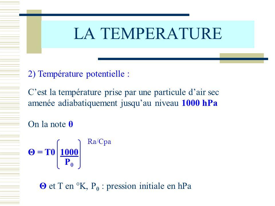 LA TEMPERATURE 2) Température potentielle :