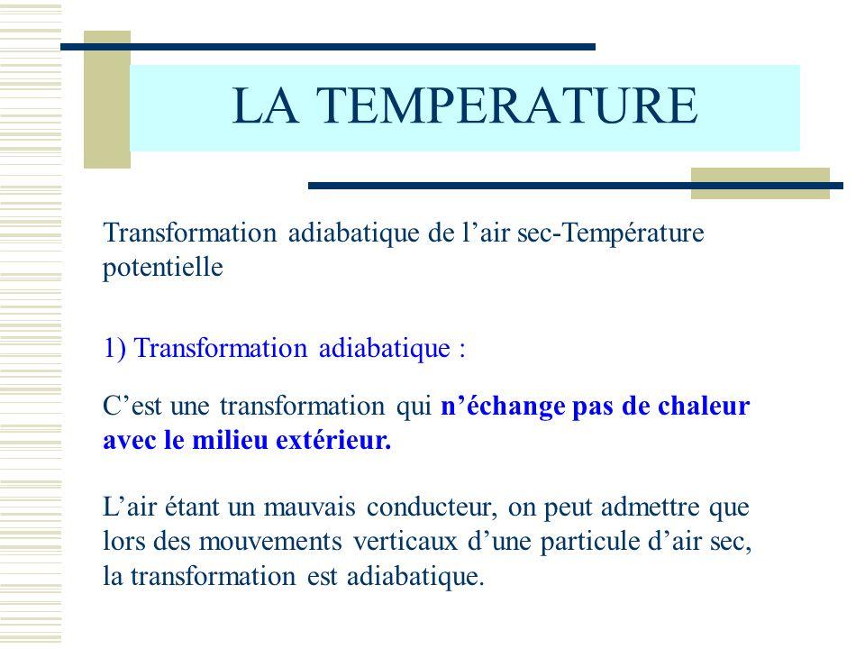 LA TEMPERATURETransformation adiabatique de l'air sec-Température potentielle. 1) Transformation adiabatique :