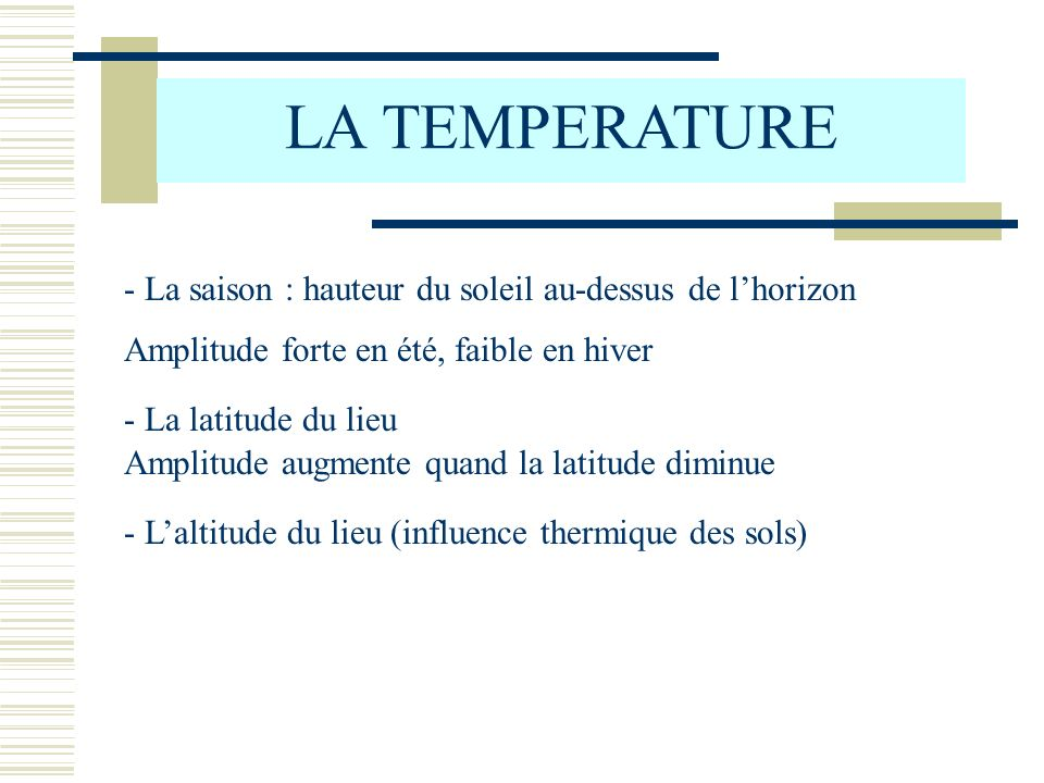 LA TEMPERATURE - La saison : hauteur du soleil au-dessus de l'horizon