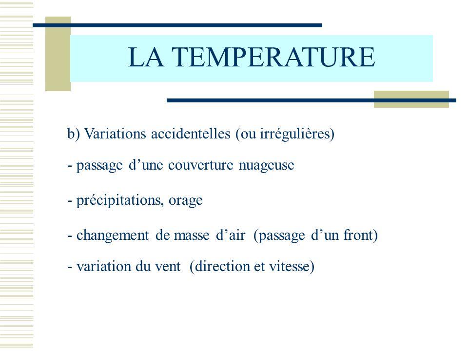 LA TEMPERATURE b) Variations accidentelles (ou irrégulières)