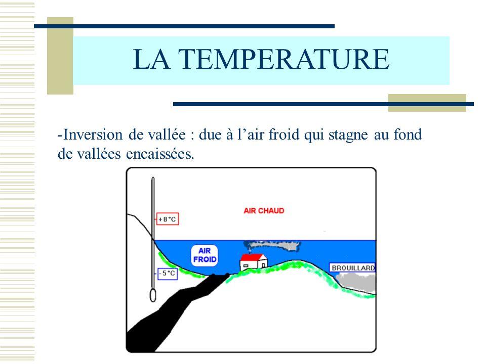 LA TEMPERATURE Inversion de vallée : due à l'air froid qui stagne au fond de vallées encaissées.