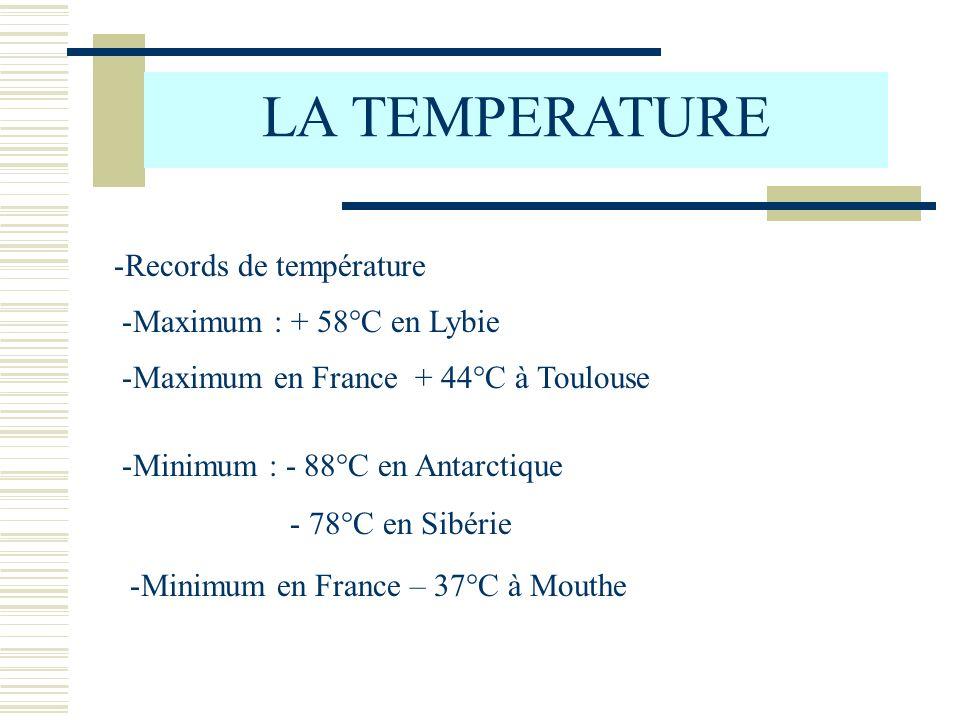 LA TEMPERATURE Records de température Maximum : + 58°C en Lybie