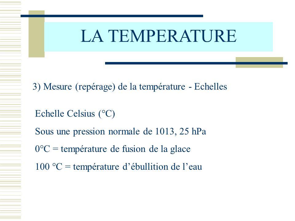 LA TEMPERATURE 3) Mesure (repérage) de la température - Echelles