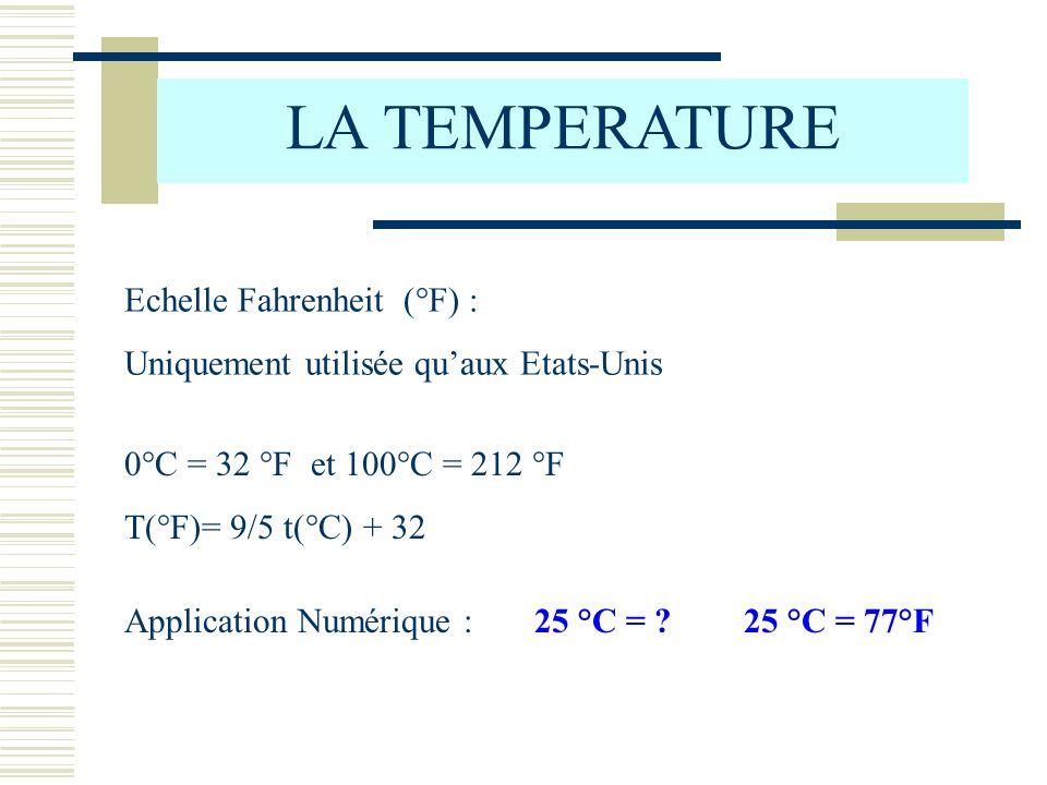 LA TEMPERATURE Echelle Fahrenheit (°F) :